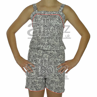 New Girls Ex M&S Grey Floral Print Summer Sun Shorts Sleeveless Playsuit