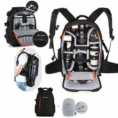 Waterproof DSLR Camera Backpack Bag Case for Canon Nikon Sony Free Rain Cover