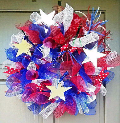 Handmade Patriotic July 4 Flag Day Everyday Red White & Blue Mesh Wreath