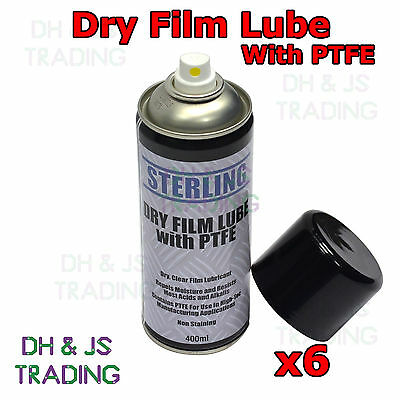 6 x Dry Film Lube + PTFE Aerosol Spray (400ml) Lubricant Coating Oil