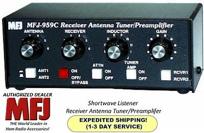 MFJ 959C, Antenna Tuner With Preamp, Short Wave Listener, Covers 1.6 to 30 MHz.