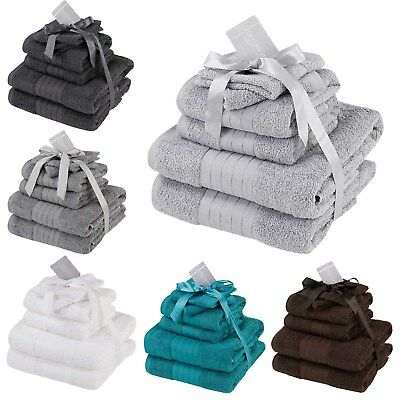 Luxury Soft Face Hand Bath 6 Piece Bathroom Towel Bale Set 100% Egyptian Cotton