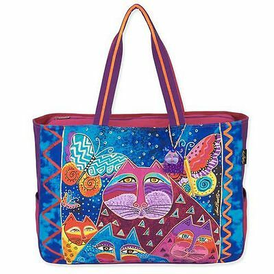 Cats with Butterflies Laurel Burch Large Canvas Overnight Travel Tote Bag