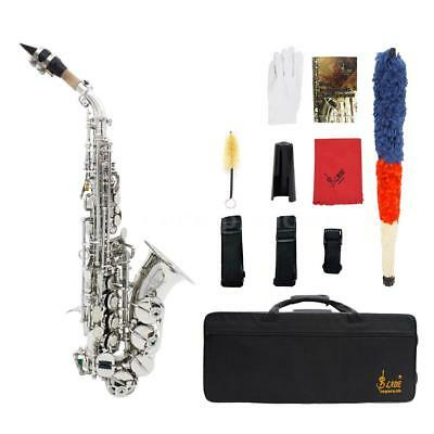 LADE Brass Golden Carve Pattern Bb Soprano Saxophone Sax with Case O7I4