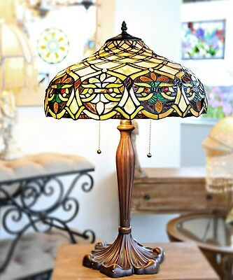 "24.5"" Tiffany Style Ariel Table Lamp #15053 Stained Glass Lattice Flowers Floral"