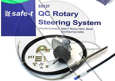 12ft Teleflex Safe-T SS13712 Quick Connect Boat Rotary Steering Cable & Helm Kit