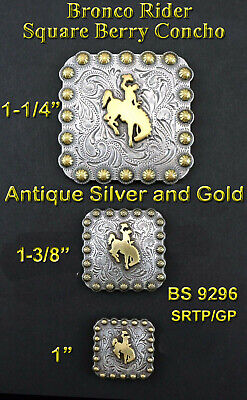 Conchos Lot Of 6 Pc Western Bronco Rider Antique Silver And Gold Square 3 Sizes