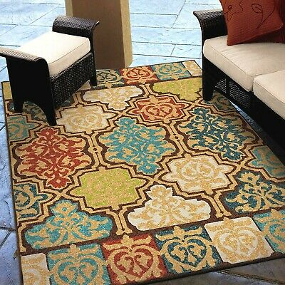 Rugs Area Rugs Outdoor Rugs Indoor Outdoor Carpet Large Colorful Patio Rugs  New~