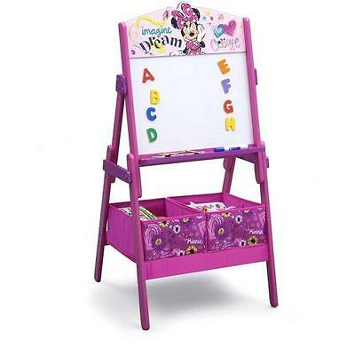 Girls Disney Pink Minnie Mouse Magnetic Dry Erase Art Easel Board w Bins Age 3-8