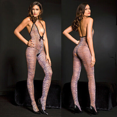 Halter V Neck Tiger Print Bodystocking Lingerie One Size Regular  ML1463