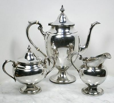 Antique GORHAM Sterling Silver Tea Set. 3 Piece Teapot, Sugar Bowl, Creamer