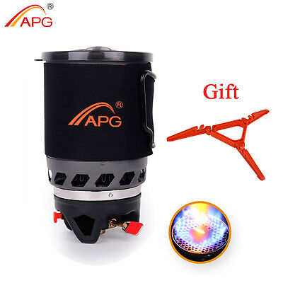 Camping Gas Stove Pot Cooking System Outdoor Hiking Picnic Gas Burner 900ml APG