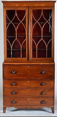 Antique Inlay Mahogany Butlers Secretary Desk With Bookcase Top