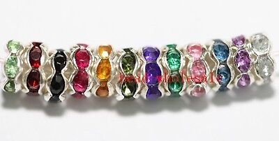 Wholesale 100pcs Mixed Rondelle Acrylic Crystal Rhinestone Beads Spacer 6mm