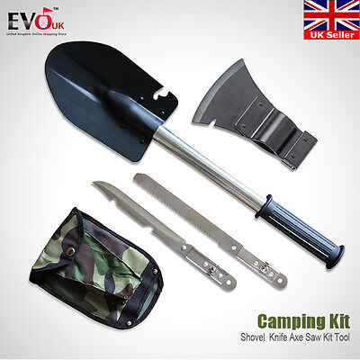 4 in 1 Sapper Shovel Set Camping Hiking Emergency Knife Axe Saw Kit Tool