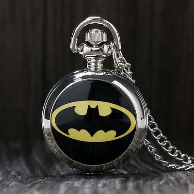 Cool The Dark Knight Batman Full Hunter Necklace Chain Quartz Pocket Watch Gift