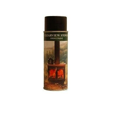 Clearview Stove Paint High Temp Woodburner Fireplace Aerosol - Metallic Black