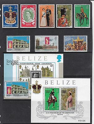BELIZE 1979 CORONATION Stamps SET 8v + 2 MINI SHEETS SG495-502 & MS503 Ref:QB881