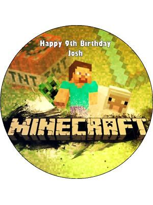 Gamer Minecraft 19Cm Edible Icing Image Cake Topper