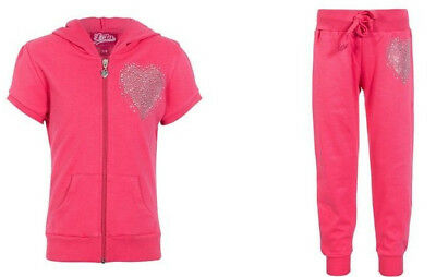 Childrens Tracksuits Girls Cropped Summer Capri Set Heart Short Sleeve Cotton