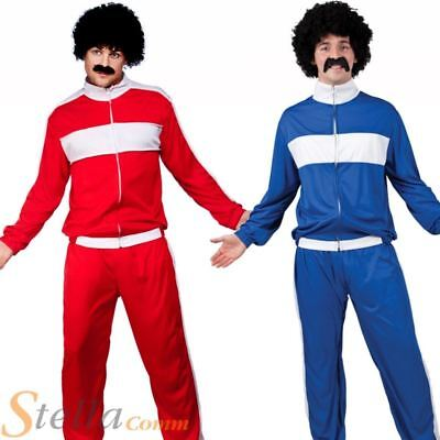 Mens 80s Retro Trackie Costume Adult Shell Suit Scouser Fancy Dress Outfit