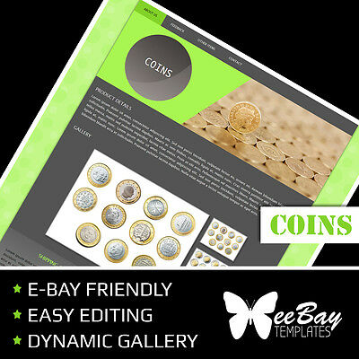 Professional eBay Auction Listing Template 71 COINS Custom HTML New Design