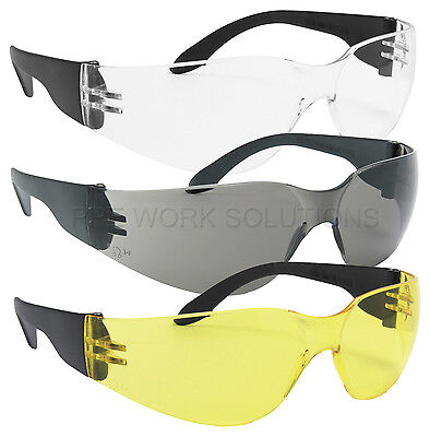 12 x Pairs Of Blackrock Safety Specs Work Spectacles Glasses Clear Smoke Yellow