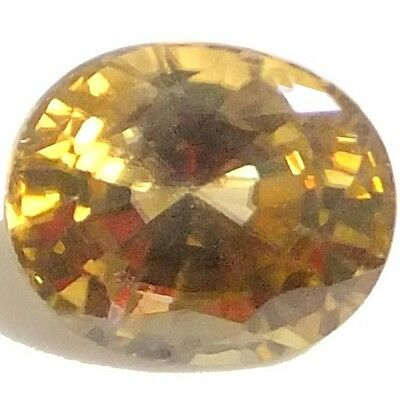 NATURAL REMARKABLE YELLOW ZIRCON LOOSE GEMSTONE (7.6 x 6.5 mm) OVAL SHAPE