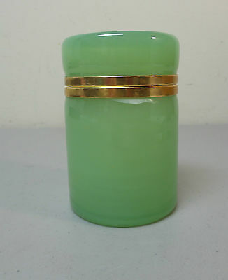 Lovely Antique French Jade Green Opaline Glass Hinged Box