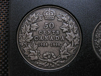 1998 Canadian Silver Proof 50 Cent ($0.50) - 90th Anniversary 1908-1998 Antique