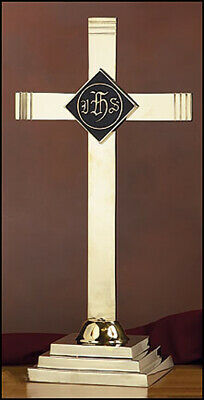 "Altar Cross With IHS Emblem - Brass - 24"" High - Free Shipping"