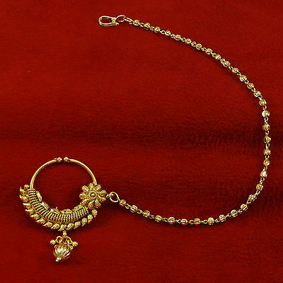 Bollywood Bridal Traditional Indian Nath Hoop Accessory Indian Nose Chain ring