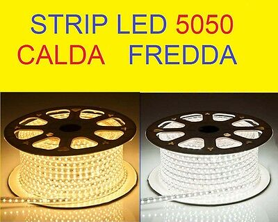 Strip Led Per Interno Esterno Striscia Led 5050 Con Guaina Flessibile Da1 A100M
