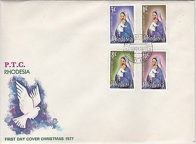 RHODESIA 1977 CHRISTMAS Stamps SET 4v FIRST DAY COVER Ref:LF34