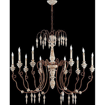 """Horchow French Restoration Large 12 Light Gray Wash & Rust Chandelier 45""""W 38"""" H"""