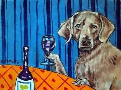 WEIMARANER wine 8x10 signed art PRINT impressionism animals reproduction