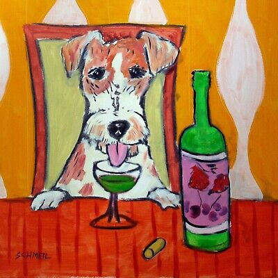 JAck Russell Terrier ABSINTHE dog art ceramic TILE abstract folk pop JSCHMETZ