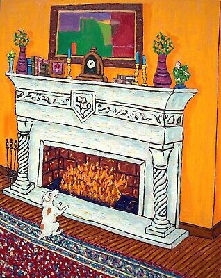 Jack Russell terrier dog fireplace 8x10 signed artist prints animals gift new