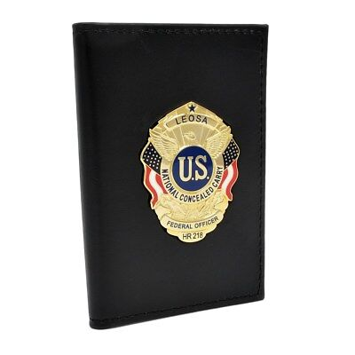 LEOSA Officer Badge Concealed Carry Permit Double ID Holder Leather Case Wallet
