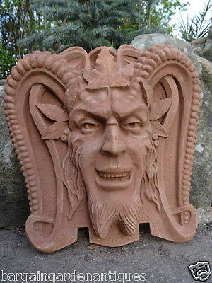 Antique Style Gothic Scary English Sandstone Devil Gargoyle Garden Wall Plaque