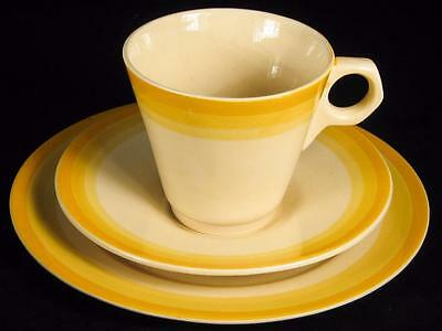 Adams Titian Ware Art Deco Yellow Bands Cup/Saucer/Plate Trio (6 available)