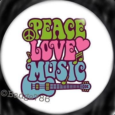 Hippy Peace Love Music 1 inch / 25mm Button Badge