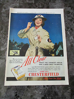 "Vintage 1942 Rosalind Russell Chesterfield Cigarettes Print Ad, 13.75"" X 10.2"""