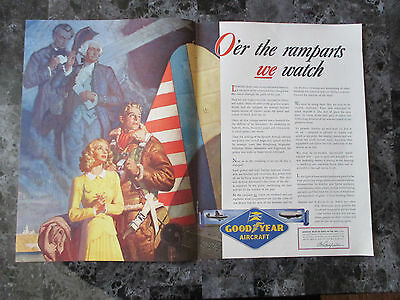 "Vintage 1942 Goodyear Aircraft Aviation Themed Color Print Ad, 14"" X 20.5"""