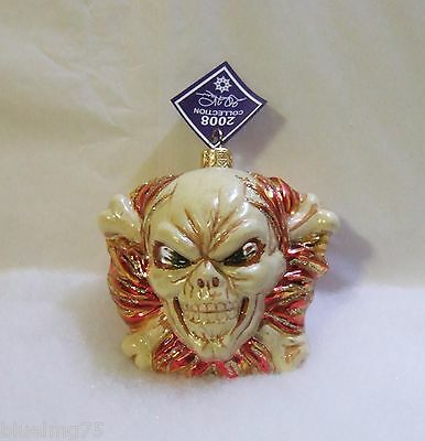 Slavic Treasures Glass Ornament 2008 Joe Inferno Skull Cross Bones Halloween S17