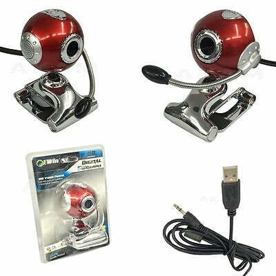 Web cam Camera With Mic PC Computer Laptop Red USB 2.0 HD