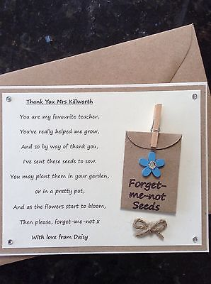 Thank You Teacher Poem Gift Magnet. Personalised Forget-me-not Seeds School