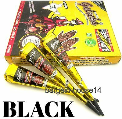 FRESH !! 50 CONES  GOLECHA BLACK Henna Paste Mehndi Cones Temporary Tattoo UK