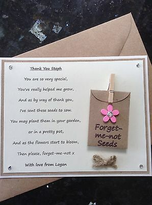 Thank You Teacher Gift Poem Magnet Card Forget-me-not Seeds ***PERSONALISABLE***