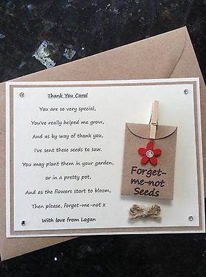 Thank You Teacher Poem Gift Magnet. Personalised Forget-me-not Seeds Nursery